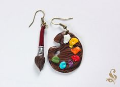 Artist palette and brush by Flowellery on Etsy