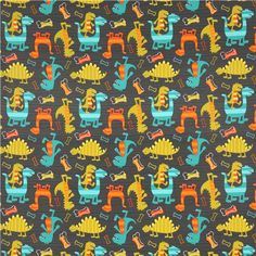grey Michael Miller fabric Dino Dudes cute dinosaur