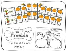 Here's a set of pumpkin-themed materials for sorting even and odd numbers.