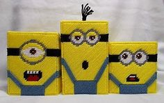 Plastic-Canvas-Minion-Tissue-Boxes-Toppers-Covers-DespicableMe-Stuart-Kevin-Bob