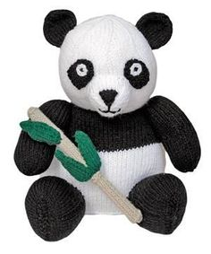Knitted Wild Animal: Giant Panda ~Free Pattern  Measures 91⁄2in (24cm) in Height