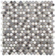 Merola Tile Comet Penny Round Luna 11-1/4 in. x 11-3/4 in. x 9 mm Porcelain Mosaic Tile-FSHCOMLU - The Home Depot