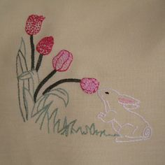 Free Hand Embroidery - Bunny Panel for Kids Company Project - stitched June 2009