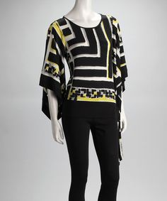 Take a look at this Black & White Stripe Cap-Sleeve Top by Sharon Young on #zulily today!