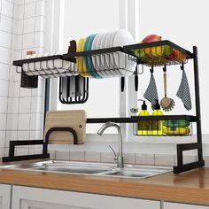 Over The Sink Dish Drying Rack - Finnish sink drying rack - Tiny home drying rack Kitchen Dishes, Kitchen Decor, Food Storage Boxes, Storage Area, Dish Drainers, Dish Racks, Rack Shelf, Stainless Steel Kitchen, Küchen Design