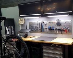 Sometimes a couple of pegboard panels is all you need to put your most heavily used tools an arm's reach away. Wall Control Metal Pegboard is versatile, attractive, and will last a lifetime. Thanks for the great customer photo Andrew! Garage Shop, Garage House, Diy Garage, Tool Storage, Garage Storage, Garage Atelier, Metal Pegboard, Tool Board, Bike Room