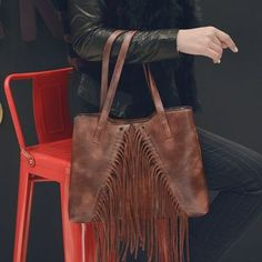 Buy Beloved Bags Fringed Faux Leather Tote at YesStyle.com! Quality products at remarkable prices. FREE WORLDWIDE SHIPPING on orders over Mex$650.