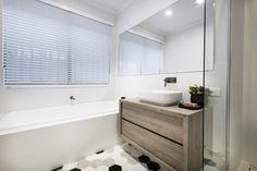 #familybathroom #hexagonaltiles #floatingvanity #smallbathroomideas