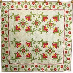 Exquisite Original Tulip Amp Rose Vine Four Block Ohio 1860s Antique Quilt 9 15SPI | eBay