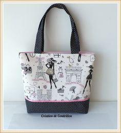 SAC/CABAS tissu en coton «La parisienne» couture fait main