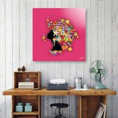 NEW on #Curioos - #Hummingbird #Kiss on #Floral #Girl by #BluedarkArt -   https://www.curioos.com/product/aluminum/hummingbird-kiss-on-floral-girl   #hummingbirdkissonfloralgirl - @curioos