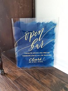Acrylic Open Bar Wedding Sign with Painted Back – Mulberry Market Designs Wedding Crafts, Diy Wedding, Dream Wedding, Wedding Decorations, Wedding Day, Wall Decorations, Wedding Centerpieces, Wedding Flowers, Wedding Signs