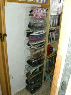 5litre water bottles turned into shoe storage