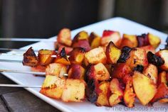 The cinnamon in these Clean Eating Cinnamon Fruit Kebobs comes alive on the grill! Enjoy these for a healthy, delicious dessert! From TheGraciousPantry.com.