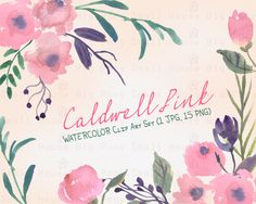 Watercolour Floral Clipart: 15 PNG separate elements. Handmade, watercolour clipart, wedding diy elements, flowers - Caldwell Pink by SmallHouseBigPony on Etsy