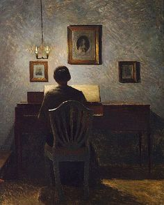 ♪ The Musical Arts ♪ music musician paintings - Peter Ilstedt | Interior with a Lady at Her Spinet, Evening Light, 1904