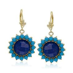 12mm Lapis and 3mm Turquoise Drop Earrings in 14kt Gold Over Sterling Silver