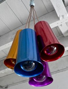 You've got to love the colors of these vintage anodised milkshake cups that have been up-cycled into a mini-pendant cluster.