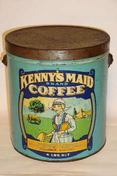 Nice Old Litho Kenny's Maid 4 Lb. Advertising Coffee Tin Can