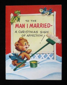 Vintage Unused Gibson Christmas Card Hubby Husband Bears | eBay