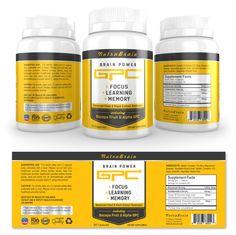 Brain Alpha GPC Supplement Label Template http://www.dlayouts.com/template/905/brain-alpha-gpc-supplement-label-template