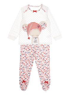Make an adorable addition to her nightwear collection with these little mouse themed pyjamas, featuring bow details and appliqué flaps. Crafted in cotton rich fabric with a handy envelope neckline for easy changing.  Girls red winter blossom pyjamas  Cotton rich  Envelope neckline  Long sleeve  Applique flaps  Added foot grip  Stretch waist  Polka dot top  Floral bottoms  Bow detail  Embroidered design  Keep away from fire