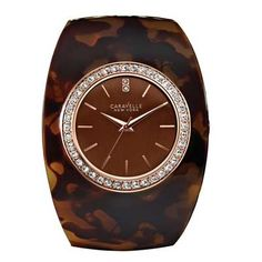 Ladies' Caravelle New York™ Tortoise Shell Crystal Wide Bangle Watch (Model: 44L140)
