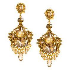 Glittering Golden Pendant Earrings by DUBLOS
