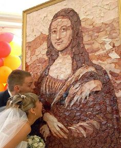 Meat Mona Lisa - photo from EnglishRussia;  Made by some Russian artists to celebrate the centenary of a southern Russian meat processing factory.     ...find link to page...
