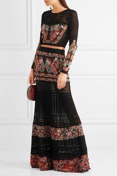 Roberto Cavalli - Jacquard And Pointelle-knit Maxi Skirt - Black - IT