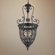 Open Scroll Cage Bronze Finish Nine Light Foyer Chandelier   LampsPlus.com