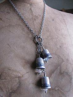 Upcycled Thimble Necklace  Triple Vintage Advertising by thekeyofa, $62.00
