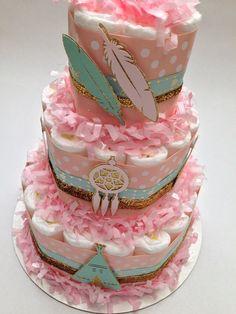 Boho Diaper Cake | Dreamcatcher Diaper Cake|New Baby Gift|Baby Shower Centerpiece| Boho Baby Shower, Dreamcatcher Baby Shower, Aqua and Pink by MrsHeckelDiaperCakes on Etsy https://www.etsy.com/listing/294524193/boho-diaper-cake-dreamcatcher-diaper