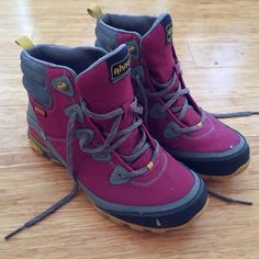 AHNU pink hiking boots shoes - worn ONCE 10 Only worn once! These are some of the best hiking shoes/boots for women, plus they're actually cute (bonus!) I wore these once and decided to get another size instead so my kiss is your gain! They're extremely comfortable, supportive, warm, good traction on the bottom. Tagged a size 10.5 but they run about a half size small so I'd say they're more of a 10. They could also fit a 9.5 if you plan on wearing super thick hiking socks. Excellent…