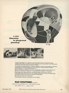 """""""A new division in playground planning,"""" advertisement for Creative Playthings Inc. Playsculpture Division, September In the early postwar period,sculpture""""—abstract, often free-standing concrete structures designed by artists and architects alike Atelier Architecture, Landscape Architecture, Landscape Design, Modern Playground, Playground Design, Childrens Workshop, Modern Toys, Concrete Structure, Play Spaces"""