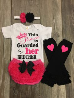 Baby girl outfit - little sister - big brother - 1st birthday outfit - hot pink and black - boutique outfit - baby girl gift by Mylittlerascal on Etsy https://www.etsy.com/listing/465492520/baby-girl-outfit-little-sister-big
