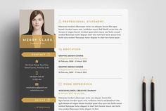 Resume Templates & Design : Modern Resume Template 3 Pages Fonts Graphics Themes Templa Modern Resume Template, Resume Templates, Cv Template, Design Templates, Free Resume Examples, Resume Ideas, Resume Tips, Business Brochure, Business Card Logo