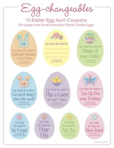 Easter Egg Hunt Coupons - free printable. Fits large and small plastic easter eggs.