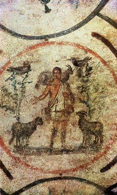 The Good Shepherd from the Catacomb of Priscilla The Romans were broadly tolerant in matters of religion, funding the maintenance and rest. Early Christian, Christian Art, Tempera, Fresco, Origin Of Christianity, Ap Art History 250, Jesus Reyes, Roman Church, Religion