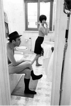 Michel Piccoli & Brigitte Bardot; filming of Le mépris, by Jean-Luc Godard 1963