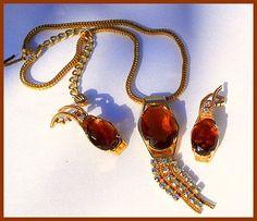 Vintage Chunky Amber Rhinestone Necklace by BrightgemsTreasures, $34.50