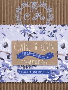 These lovely kraft designs are available in several different floral and chevron designs in various colourways Personalized Wine, Personalized Wedding, Wedding Wine Labels, Custom Labels, Wines, Congratulations, Champagne, Place Card Holders, Weddingideas