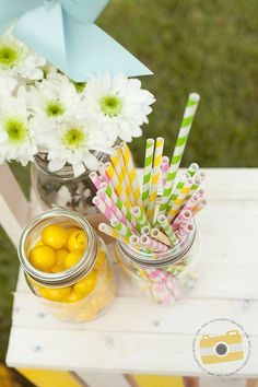 For the lemonade table at a country wedding.  Paper Drinking Straws  BUY 3  ANY COLORS  by ButtercreamDreamShop, $11.00