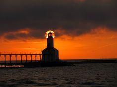 Sunset at Michigan City, Indiana East Pierhead Lighthouse (1904).  Washington Park - North End, Michigan City, Indiana- LaPorte County - Aug 26 2014