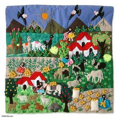 """Applique wall hanging, 'Potato Harvest' Leonor Quispe """"I enjoy my work because it's a lovely way to make a living. I give thanks to God for giving me this life, for health, and for blessing my hands with this talent. Applique Wall Hanging, Woven Wall Hanging, Tapestry Wall Hanging, Wall Hangings, Peruvian Art, Animal Quilts, Inca, Down South, Decoration"""
