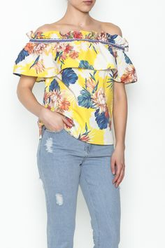 Yellow floral off the shoulder top with elastic. Great with white denim.   Off The Shoulder Top by Flying Tomato. Clothing - Tops - Off The Shoulder New York