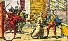 Jacques Clément assassinating Henry III.  Henry was the last Valois King.