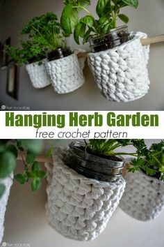 Herb Basket Free Crochet Pattern Do you grow fresh herbs? You'll need this Hanging Herb Garden free crochet pattern! via you grow fresh herbs? You'll need this Hanging Herb Garden free crochet pattern! Crochet Gratis, Crochet Diy, Crochet Home Decor, Crochet Ideas, Crochet Bags, Hanging Herb Gardens, Hanging Herbs, Crochet Plant Hanger, Knitting Patterns
