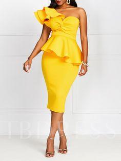 Party Dress One Shoulder Peplum Waist Twist Front Dress Latest African Fashion Dresses, Women's Fashion Dresses, Dress Outfits, Casual Dresses, Trendy Dresses, Dress Clothes For Women, Party Dresses For Women, Dresses For Work, Work Clothes
