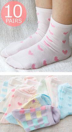 【楽天市場】靴下 レディース ソックス | パステルカラーの10足セット | クルーソックス 【送料無料】:ソックスbox408